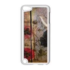 Vintage Bird Poppy Flower Botanical Art Apple Ipod Touch 5 Case (white) by chicelegantboutique
