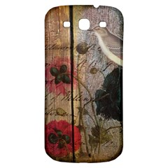 Vintage Bird Poppy Flower Botanical Art Samsung Galaxy S3 S Iii Classic Hardshell Back Case by chicelegantboutique