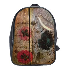 Vintage Bird Poppy Flower Botanical Art School Bag (xl) by chicelegantboutique