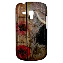 Vintage Bird Poppy Flower Botanical Art Samsung Galaxy S3 Mini I8190 Hardshell Case by chicelegantboutique