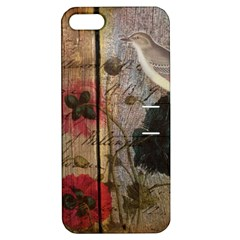 Vintage Bird Poppy Flower Botanical Art Apple Iphone 5 Hardshell Case With Stand
