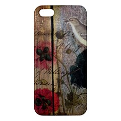 Vintage Bird Poppy Flower Botanical Art Iphone 5 Premium Hardshell Case by chicelegantboutique