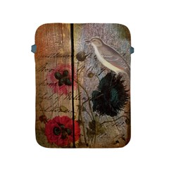 Vintage Bird Poppy Flower Botanical Art Apple Ipad 2/3/4 Protective Soft Case by chicelegantboutique