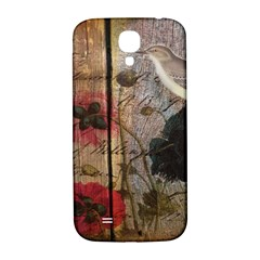 Vintage Bird Poppy Flower Botanical Art Samsung Galaxy S4 I9500/i9505  Hardshell Back Case by chicelegantboutique