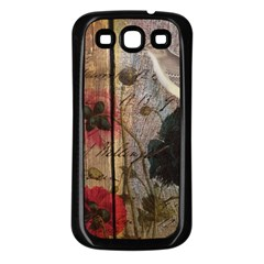 Vintage Bird Poppy Flower Botanical Art Samsung Galaxy S3 Back Case (black) by chicelegantboutique