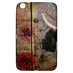 Vintage Bird Poppy Flower Botanical Art Samsung Galaxy Tab 3 (8 ) T3100 Hardshell Case  by chicelegantboutique