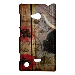 Vintage Bird Poppy Flower Botanical Art Nokia Lumia 720 Hardshell Case by chicelegantboutique