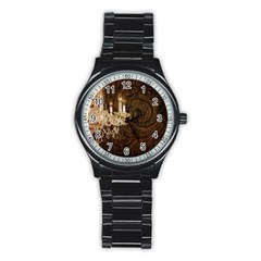 Tooled Leather Crystal Chandelier Vintage Paris Fashion Sport Metal Watch (Black) by chicelegantboutique