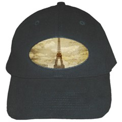 Elegant Vintage Paris Eiffel Tower Art Black Baseball Cap by chicelegantboutique