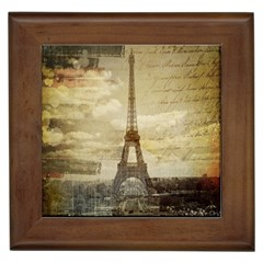 Elegant Vintage Paris Eiffel Tower Art Framed Ceramic Tile by chicelegantboutique