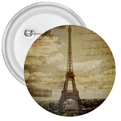 Elegant Vintage Paris Eiffel Tower Art 3  Button by chicelegantboutique