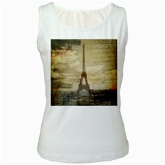 Elegant Vintage Paris Eiffel Tower Art Womens  Tank Top (white) by chicelegantboutique