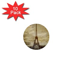 Elegant Vintage Paris Eiffel Tower Art 1  Mini Button (10 Pack) by chicelegantboutique