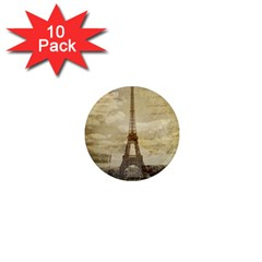 Elegant Vintage Paris Eiffel Tower Art 1  Mini Button Magnet (10 Pack) by chicelegantboutique