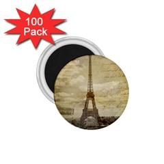 Elegant Vintage Paris Eiffel Tower Art 1 75  Button Magnet (100 Pack) by chicelegantboutique