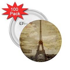 Elegant Vintage Paris Eiffel Tower Art 2 25  Button (100 Pack) by chicelegantboutique