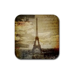 Elegant Vintage Paris Eiffel Tower Art Drink Coaster (Square) by chicelegantboutique