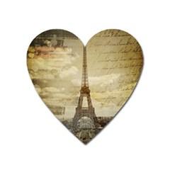 Elegant Vintage Paris Eiffel Tower Art Magnet (heart) by chicelegantboutique