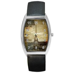 Elegant Vintage Paris Eiffel Tower Art Tonneau Leather Watch by chicelegantboutique