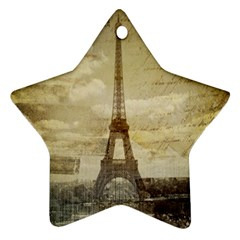 Elegant Vintage Paris Eiffel Tower Art Star Ornament (two Sides) by chicelegantboutique