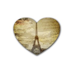 Elegant Vintage Paris Eiffel Tower Art Drink Coasters (heart) by chicelegantboutique