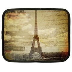 Elegant Vintage Paris Eiffel Tower Art Netbook Case (large) by chicelegantboutique