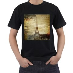 Elegant Vintage Paris Eiffel Tower Art Mens' T Shirt (black) by chicelegantboutique