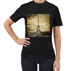 Elegant Vintage Paris Eiffel Tower Art Womens' T Shirt (black)