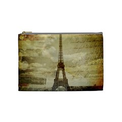 Elegant Vintage Paris Eiffel Tower Art Cosmetic Bag (medium) by chicelegantboutique