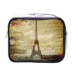 Elegant Vintage Paris Eiffel Tower Art Mini Travel Toiletry Bag (one Side) by chicelegantboutique