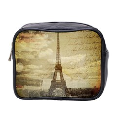 Elegant Vintage Paris Eiffel Tower Art Mini Travel Toiletry Bag (two Sides) by chicelegantboutique