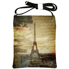 Elegant Vintage Paris Eiffel Tower Art Shoulder Sling Bag by chicelegantboutique