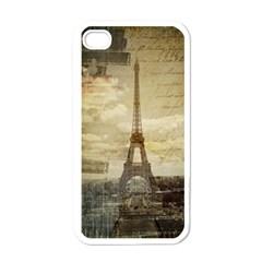 Elegant Vintage Paris Eiffel Tower Art Apple Iphone 4 Case (white) by chicelegantboutique