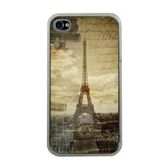 Elegant Vintage Paris Eiffel Tower Art Apple Iphone 4 Case (clear) by chicelegantboutique