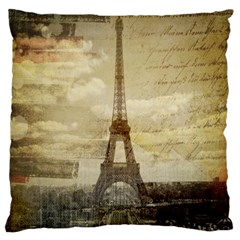 Elegant Vintage Paris Eiffel Tower Art Large Cushion Case (two Sided)  by chicelegantboutique