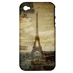 Elegant Vintage Paris Eiffel Tower Art Apple Iphone 4/4s Hardshell Case (pc+silicone) by chicelegantboutique