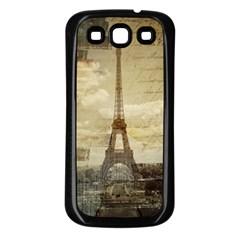 Elegant Vintage Paris Eiffel Tower Art Samsung Galaxy S3 Back Case (black) by chicelegantboutique