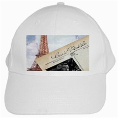 French Postcard Vintage Paris Eiffel Tower White Baseball Cap by chicelegantboutique