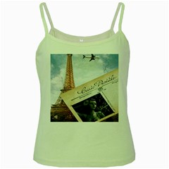 French Postcard Vintage Paris Eiffel Tower Green Spaghetti Tank by chicelegantboutique