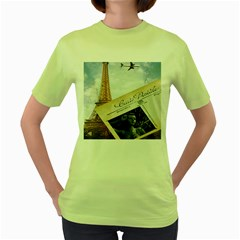 French Postcard Vintage Paris Eiffel Tower Womens  T Shirt (green) by chicelegantboutique