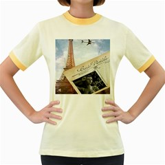 French Postcard Vintage Paris Eiffel Tower Womens  Ringer T Shirt (colored) by chicelegantboutique