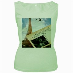 French Postcard Vintage Paris Eiffel Tower Womens  Tank Top (green) by chicelegantboutique