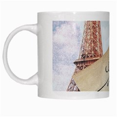 French Postcard Vintage Paris Eiffel Tower White Coffee Mug