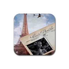 French Postcard Vintage Paris Eiffel Tower Drink Coasters 4 Pack (square) by chicelegantboutique