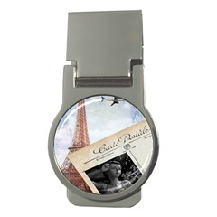 French Postcard Vintage Paris Eiffel Tower Money Clip (round)