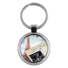 French Postcard Vintage Paris Eiffel Tower Key Chain (round) by chicelegantboutique