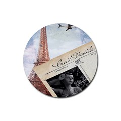 French Postcard Vintage Paris Eiffel Tower Drink Coaster (round) by chicelegantboutique