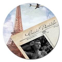 French Postcard Vintage Paris Eiffel Tower Magnet 5  (round) by chicelegantboutique