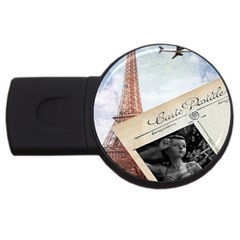 French Postcard Vintage Paris Eiffel Tower 2gb Usb Flash Drive (round) by chicelegantboutique