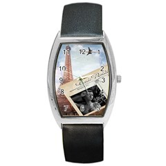 French Postcard Vintage Paris Eiffel Tower Tonneau Leather Watch by chicelegantboutique